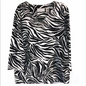 Alfred Dunner Zebra Studded Blouse, size Small